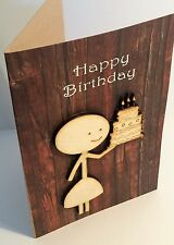 Happy Birthday 'Cake' - unique hand-made wooden celebration greetings card