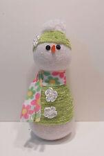 Girl Sock Snowman Figurine - Green W/Flower Scarf - Handmade - Rice Filled