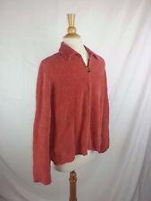 TOMMY BAHAMA Full Zip Sweater Cardigan Women's Orange Mock Turtleneck M Medium