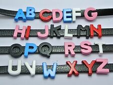 """130 Mixed Enamel Color Alloy Letter """"A-Z"""" Slide Charm Beads 10mm Fit Wristband"""