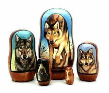 "WOLF Russian Handmade Nesting DOLL 5 piece Set  4""H Very rare"