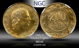 1986 R ITALY 200 LIRE NGC MS 65 ONLY 4 GRADED HIGHER