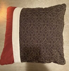 Set 3 Throw Pillows Brown Burgundy And Beige Quilted Great Condition