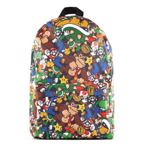 NINTENDO Super Mario Bros. Characters All-Over Print Backpack, Multi-colour