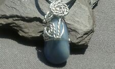 Handmade Natural Sodalite Gemstone Silver Wire Wrapped Pendant with cord