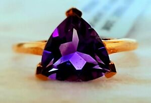2ct Natural Purple Amethyst Certified Solitare in 9k R. Gold Ring Sz N-O New Tag