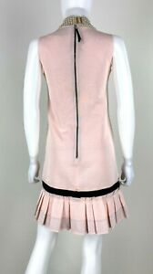 Dolce & Gabbana 2 US 40 IT XS Pink Black Cotton Shift Dress Zipper Runway Auth