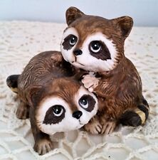 Two Playful Baby Racoons by HOMCO #1454 1990's Made in Taiwan