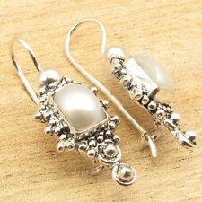 AAA WHITE SEA PEARL 925 Silver Plated FIX WIRE TRIBAL HANDMADE Earrings 3.0 CM