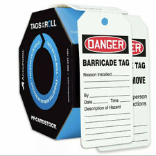 """Accuform TAR158 Tags by-The-Roll Status Tags,""""Danger BarricadeTag"""" Roll of 250"""