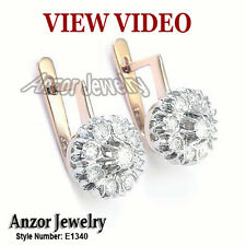 14k Rose & White Gold Genuine White Topaz malinka Earrings #E1340