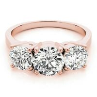 1.35Ct Round Cut Solitaire Diamond Bridal Wedding Ring 14K Rose Gold Size 5 6 7
