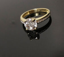 New Solitaire Simulated Diamond,10K Yellow Gold Ladies Engagement Wedding Ring