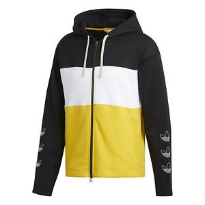 adidas ORIGINALS MEN'S FULL ZIP HOODIE TREFOIL BLACK WHITE YELLOW WARM COMFY NEW