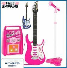 Karaoke Set Electric Guitar Microphone Kids Girl Boy MP3 Player Amp Machine Pink