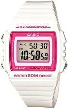 Casio W-215H-7A2 White with pink border Digital Watch W215H-7A2