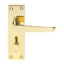 Long Backplate WC Door Handle Pair Brass Effect