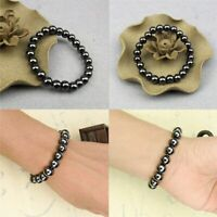 1PCS Luxury Slimming Bracelet Unisex Round Black Stone Magnetic Therapy Bracelet
