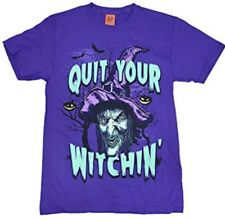Quit Your Witchin! Halloween Witch Purple T-Shirt Size Adult L Large