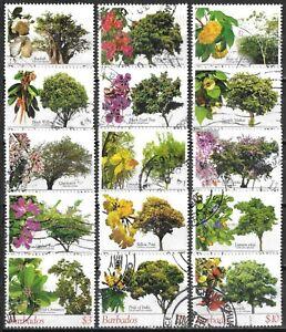 Barbados #1078-1092 Used 2005 Flowering Trees Definitive Series $34.30 SCV