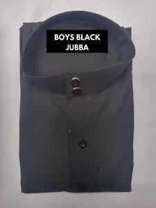 BOYS   PLAIN BLACK JUBBA   UNIFORM   MOSQUE   MADRESSAH   ISLAMIC CLOTHING