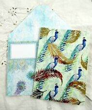 PUNCH STUDIO~Set 5~GOLD FOIL FEATHERS~PEACOCKS~Blank Note Cards & Envelopes