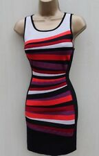 Karen Millen Black Multi Stripe Bodycon Bandage Knit Dress KM-1 UK 6-8