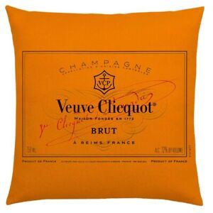 VEUVE CLICQUOT CHAMPAGNE ORANGE COTTON CUSHION COVER *printed both sides*