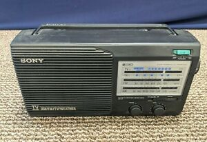 Sony Radio ICF-34 TV Sound AM FM Weather 4 Band Portable Working Tested Battery