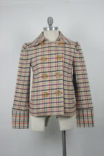 NWT $500 Marc Jacobs Classic Plaid Wool Coat Preppy Vintage Size Small
