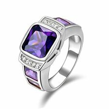 18K Gold Filled Amethyst Anniversary Rings Fashion Jewelry Band Size 10 For Mens