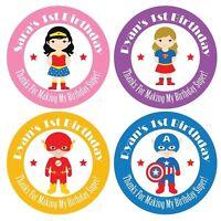 Set of Personalized Custom Birthday Party Girl Boy Super Hero Kids Stickers