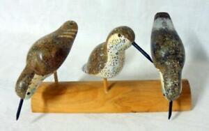 Carved Folk Art Shore Bird Sculpture on Log