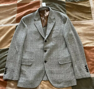 $3495 Brunello Cucinelli prince of wales check wool cashmere blazer 52 R men NEW