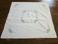 """Vintage Hand Embroidered Linen White Flowers 33"""" Table Square"""