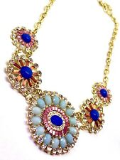 Sparkly Crystal Blue & Pink Discs Gold Chain Statement Necklace