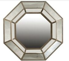 Hexagon mirror with rustic silver finish and vintage look Antique Wall Mirror