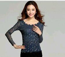 Spring 2015 Women Blouses Lace Gauze Render Unlined Upper Garment Of Female Long