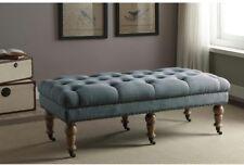 Indoor Home Bedroom Isabelle Washed Wooden Soft Bench Seat Furniture Blue New
