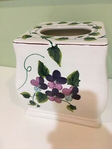 Waverly Sweet Violets Boutique Tissue Box Cover Ceramic Purple Green Floral