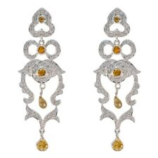 Yellow 925 Sterling Silver genuine comely Citrine wholesale Earring AU gift
