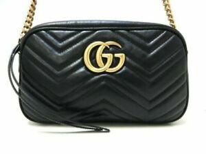 Gucci Crossbody Marmont Calfskin Matelasse Mini GG Black Leather Shoulder Bag