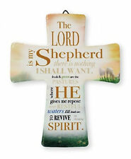 The Lord is my Shepherd Psalm 23 on Porcelain Cross Holy Religious Gift