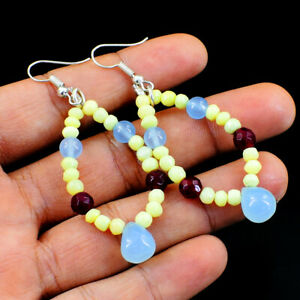 45.00 Cts Earth Mined Blue Chalcedony & Red Ruby Round Shape Beads Earrings