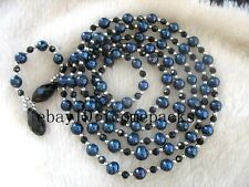 "freshwater pearl black round quartz necklace 52"" nature wholesale bead nature"