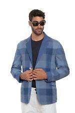 BELVEST Jacket Solid / Checks Blue Violet Reversible Cotton Linen Ramiè