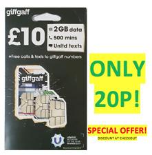 Giffgaff Pay As You Go PAYG Trio Nano/Micro/Standard Giff Gaff Sim Card ONLY 20P