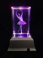 Ballerina Girl- 3d Laser Etched Crystal Block With 4 LED Light Base
