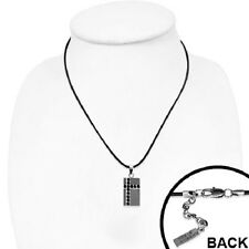 Stainless Steel Cross Tag Pendant Necklace w/Black CZ - Adjustable Length