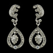 Earrings #2325 Antique Silver Clear Tear Drop Acorn